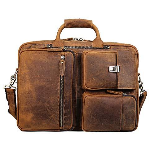 Jtoony-BA Aktetas lederen heren grote Aktetas 17-inch multifunctionele laptoptassen retro lederen rugzak schoudertassen reisbagage