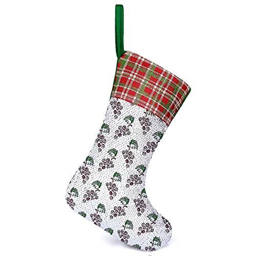 Medias personalizadas estilo vino Motivos provincia histórica europea Jerez Obra de Arte Maroon verde Navidad fiesta mantel decoración uso como bolsa de regalo y decoraciones 25,2 x 33,5 cm