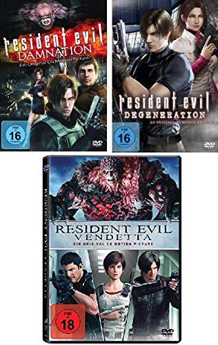 Resident Evil: Damnation + Degeneration + Vendetta im Set - Deutsche Originalware [3 DVDs]