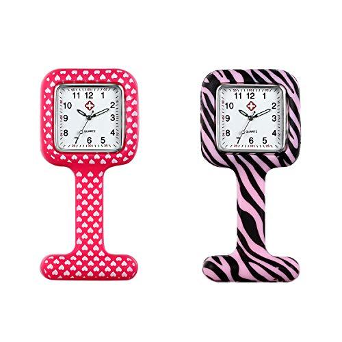 Avaner Reloj de Enfermera Silicona 2 Piezas Reloj Médico Ro