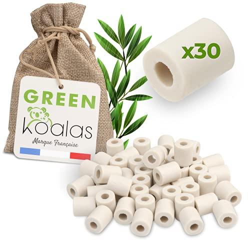 Green Koalas X30 Keramikperlen, Grau, mit Mikroorganismen, effektive Kugeln, Luftreiniger, natürlich, für Filtration, Wasser, Karaffe, Brunnen, Kaffeemaschine, Wasserkocher, entfernt Chlor und Kalk