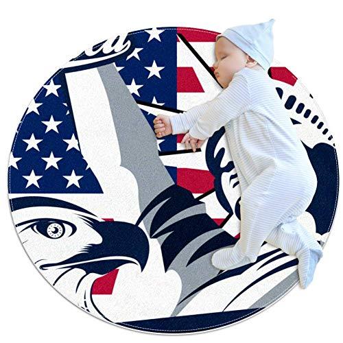 American Eagle Liberty Tapis de jeu rond pour tapis de jeu pour bébé Tapis de salle de bain antidérapant doux pour les tout-petits 80cm