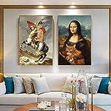 JEfunv Leinwand Malerei Napoleon Mona Lisa Hug Katze Bilder