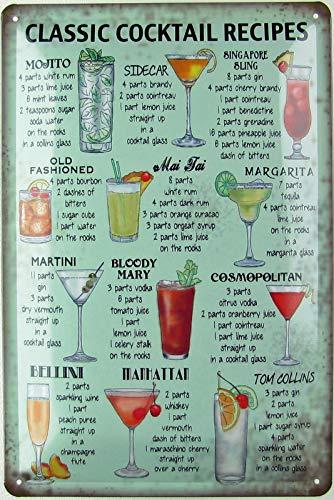Generisch Blechschild 20x30 cm gewölbt Retro Classic Cocktail Recipes Geschenk Magnet-Metall-Schild mit Sprüchen Vintage lustige Türschilder Bier Nostalgie Schild Deko Bar-Schild Beer Motiv