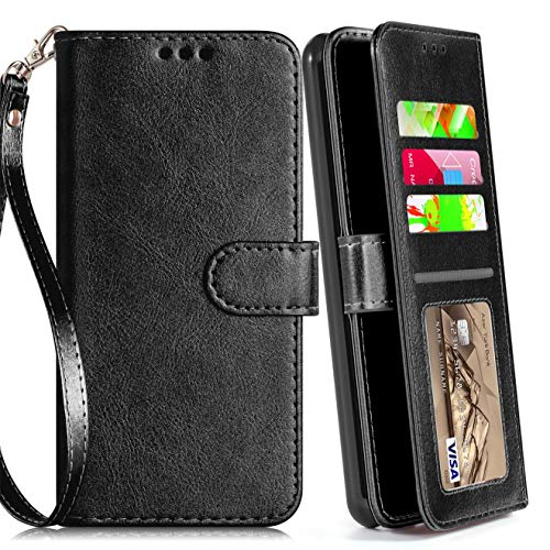 LG Stylo 4 Case, Phone Wallet for LG Stylo 4 Plus/Stylo 4+/Q Stylus 4 with Protector Screen Leather Wallet Case Wrist Strap with Kickstand Credit Card Holder for Men Boys Girls/Women (Black (Pure))