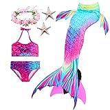 Paisdola Mädchen Meerjungfrau Schwanz Bikini Set Kinder Schwimmen Kostüm enthält Flossen und...