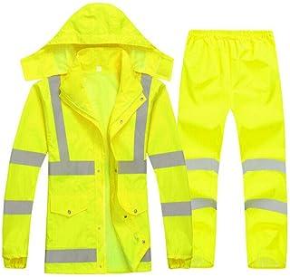 Xinvision Men Waterproof Reflective Rainsuit - Warning Safety Rainwear High Visibility Traffic Control Protective Workwear