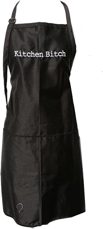 Black Embroidered Apron Kitchen Bitch