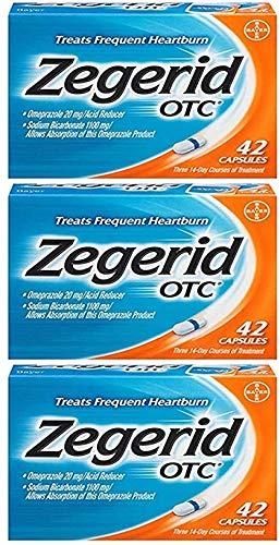 Zegerid OTC 24 Hour Acid Reducer Heartburn Relief Capsules 42 Count Pack of 3 126 Capsules