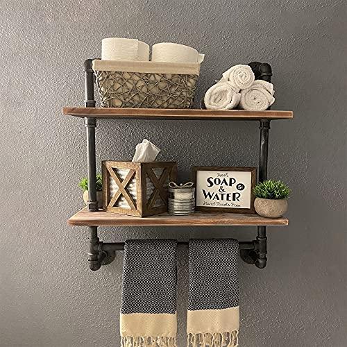 Industrial Pipe Shelf,Rustic Wall Shelf with Towel Bar,24' Towel Racks for Bathroom,2 Layer Pipe Shelves Wood Shelf Shelving