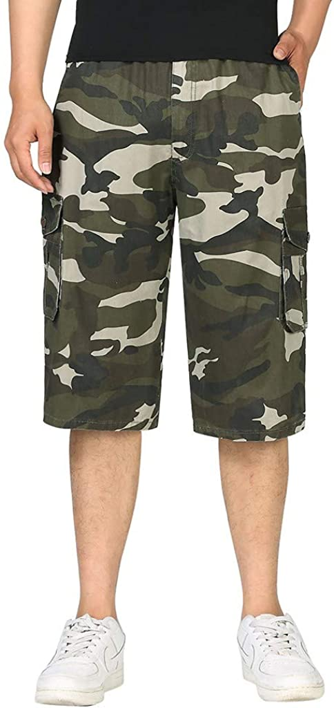 DIOMOR Mens Fashion Outdoor Camo Multi Pockets Relaxed Fit Cargo Shorts Relaxed Fit Beach Trunks Sport Below Knee Pants
