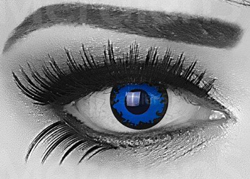 Dark Blue Farbige Funnylens Crazy Fun Dunkelblau blau Kontaktlinsen perfekt zu Fasching, Karneval Halloween Anime Manga oder zum Alltag mit gratis Behälter und 60ml Pflegemittel Topqualität zu jedem Event geeignet.