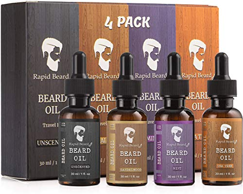 Beard Oil Conditioner Growth 4 Pack - Natural Variety Gift Set - Unscented, Sandalwood, Tea Tree & Mint Conditioning, Moisturizing, Softening Beards & Mustaches Maintenance for Men