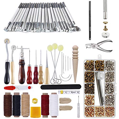 336Pcs Leather Craft Tools Kit, FULANDL 33Pcs DIY Leather Working Tools Leather Sewing Set with 303Pcs Leather Snap Fasteners Kit for Leather Punch Hole Hand Craft Drilling Stitching Carving