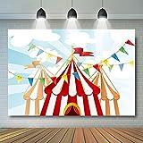 Carpas de Circo de Lona Inferior Carpas de Carnaval Fiesta de cumpleaños bancaria para niños Fondo de Foto de Pastel de Primer cumpleaños-220x150CM