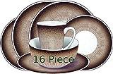 Leisurewize - Vajilla de melamina (16 Piezas), diseño de Piedra