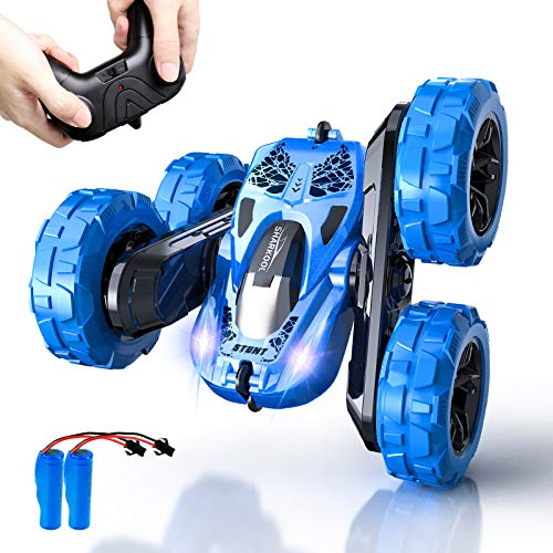 Remote Control Car, SHARKOOL 2.4GHz Electric Race Stunt Car, 4WD High Speed Double Sided 360° Rolling Rotating RC Car, LED Headlights Off Road Toy Car for 3 4 5 6 7 8-12 Year Old Boys&Girls