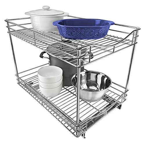 Lynk Professional Double Drawer Pull Out Two Tier Sliding Under Cabinet Organizer, 14w x 21d x 16h -inch, Chrome