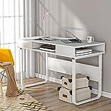 Mesa de trabajo para computadora con 3 estantes para oficina y hogar, mesa de ordenador portátil con marco de acero y estantería, fácil montaje, estilo industrial (blanco)