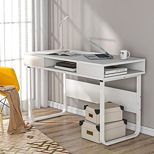 LIFE CARVER Computer Desk Work Table with 3 Shelves for Office and Home, PC Laptop Table with Steel Frame and Bookshelf, Easy Assembly, Industrial Style (White)