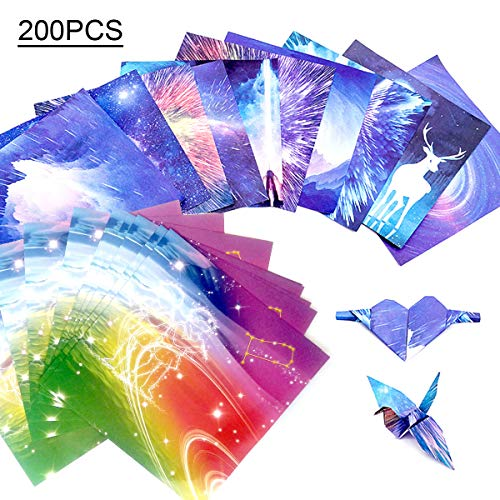 Globaldream 200 hojas de papel Origami a doble cara de 6x6 pulgadas, 20 diseños...
