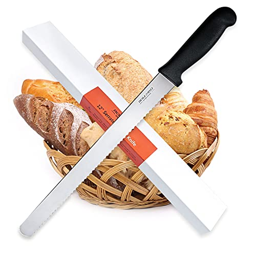 BOLEX 12 Inch Serrated Bread Knife Wide Wavy Edge knife, 2.5MM Thickened Stainless Steel Multi-Purpose Kitchen Knife, Professional Bread Knife for Homemade Bread, Crusty Breads, Cake, Bagel