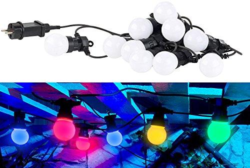 Lunartec Lichterkette Garten: Party-LED-Lichterkette m. 10 LED-Birnen, 3 Watt, IP44, 4-farbig, 4,5 m (Lichterkette Strom)