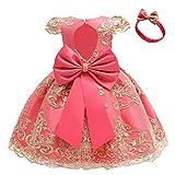 HOIZOSG Vestidos de bebé para niñas pequeñas, bautizo, tutú, vestido de princesa, bowknot boda, cumpleaños, bautismo, vestidos de fiesta w/headwear
