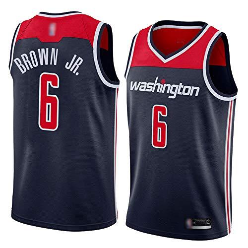 SHR-GCHAO Camiseta para Hombre, Camiseta De Baloncesto Brown NBA Washington Wizards # 6, Camisetas Sin Mangas De Malla Transpirable, Secado Rápido, Antiarrugas,M(170~175CM)