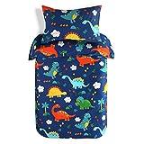 JISEN Toddler Duvet Set 100% Cotton Kids Bedding Set Junior Cot Bed Duvet Cover with Pillowcase Set 120x150cm + 40x60cm Blue Dinosaur