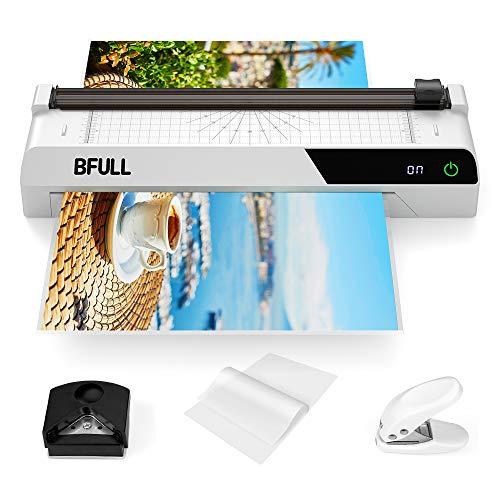 BFULL A3 - Plastificadora multifunción 6 en 1 con pantalla táctil, cortadora de papel, 40 láminas para plastificar esquinas redondeadas, ideal para la oficina, la escuela o el hogar (blanco)