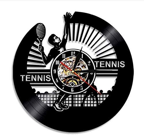 Reloj De Pared De Vinilo Reloj De Pared De Tenis De Vinilo Silueta De Jugador De Tenis Reloj De Pared Con Disco De Vinilo Retro Deportes Tema Raqueta Decoración Del Hogar Regalo De Amante Del Tenis R