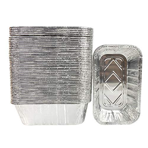 50 Pack 1Lb mini Loaf Pans Heavy Duty Disposable Aluminum Foil Bread Tins Standard Size - 6' X 3.5' X 2.5' Oven Safe Sturdy Small Bread Tin Pans-1 Pound Loaf Pans
