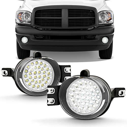 For 2002-2009 Dodge Ram Pickup Truck Hyper White Full LED Fog Lights Lamp w/Switch + Wiring Harness