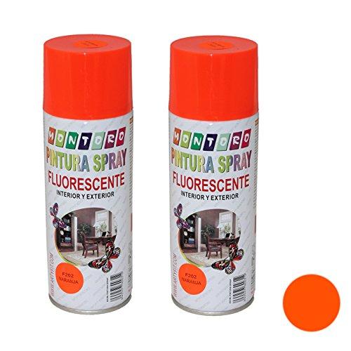 Montoro - Pack de 2 botes de pintura en spray Naranja Fluorescente F202 400 ml