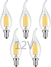 OPALRAY 12V Low Voltage LED Candelabra Bulb, 6W Dimmable with 12V DC Dimmer, Warm White Light, E12 Candle Base, Clear Glas...