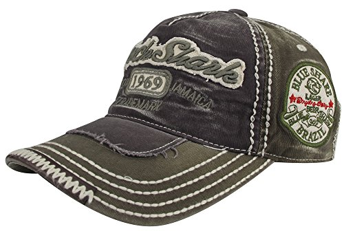 MINAKOLIFE Herren RockShark Kingston 1969 Jamaika Distressed Vintage Trucker- Baseball Kappe Hut (Grün)