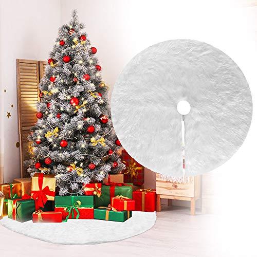 DECARETA Baumdecke Weihnachtsbaum Weiß Christbaumdecke 90cm Durchmesser Rund Weihnachtsbaumdecke Plüsch Weihnachtsbaum Rock Tannenbaum Christbaum Rock Dekoration Ornaments für Weihnachten