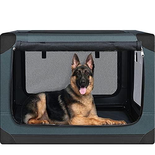 PUPPY KITTY Hundebox für große Hunde, Faltbar Hundetransportbox Auto Transportbox Reisebox Katzenbox, Border Collie Golden Retriever Transportbox für Kleiner Lastwagen, 59 * 59 * 83 cm, Olive.