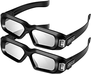 Elikliv Active Shutter 3D Glasses AX-30 DLP-Link USB Rechargeable Home Theater Black Compatible with BenQ Dell Acer Optama Sony Projectors (Pack 2)