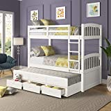 Twin Over Twin Wood Bunk Bed with Trundle & Drawers, Solid Hardwood Twin Bunk Bed Frame with Ladder and Safety Rail, White