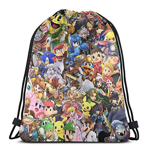 Ady Super Smash Bros Ultimate - Character Collage Drawstring Bags Gym Bag