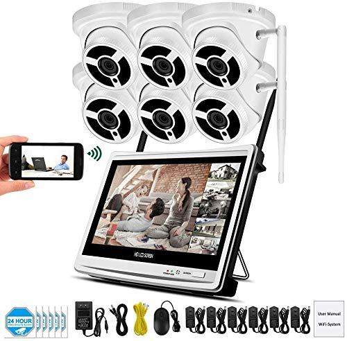 L.TSA Full HD 1080P CCTV Sistema de cámara de Seguridad inalámbrica IP para el hogar con Monitor LCD de 12 Pulgadas Detección de Movimiento al Aire Libre a Prueba de Agua con Disco de Disco