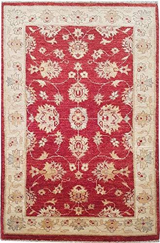 Smart Deal Traditionelle handgeknüpfte Moderne Chobi-Teppiche Rot/Gold Farbe 100{8a2295c6e854d49768b62b165fe4041931f6c45384af9fc29d6a30233288e6af} Wolle Perserteppiche Größe (74 x 122)