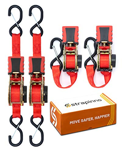 STRAPINNO 4pcs Retractable Ratchet Straps Bundle (1-in x 6-ft), Secure Tie-Downs with Rubber-Coated Steel Handles, S-Hooks & Durable Hardware For Daily Use with Breaking Strength - 1,500LBS/680KG Each
