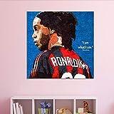 UIOLK Impresión de Lienzo Mural clásico Estrella de fútbol Ronaldinho Pintura Decorativa Lienzo Arte Mural Aniversario Regalo Navidad