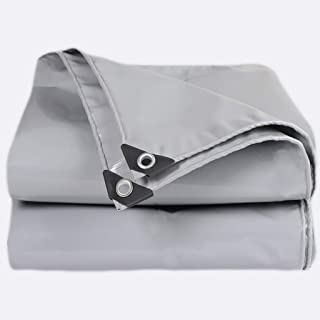 ZXPYZ Waterproof Tarpaulin Thick Waterproof, UV Resistant, Rot, Rip and Tear Proof Tarpaulin with Grommets and Reinforced Edges Multilayered Tarpaulin in Many Sizes - Gray 4mx8m