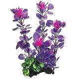 38 cm x grandes flores moradas de plástico artificial plantas salvajes arbustos para acuario, pecera, decoración de vegetación acuática, plantas de hierba y escondite