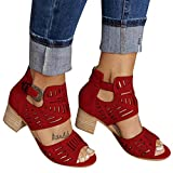 Aniywn New Sandals Women's Peep Toe Cut Out Chunky Stacked Block Heel Ankle Booties Open Toe Mid Heel Sandals Wine