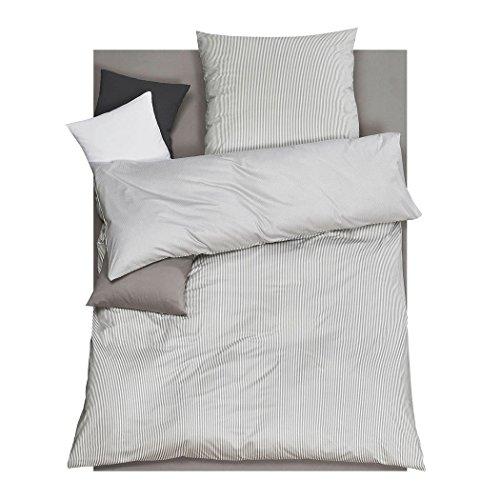 DORIS MEYER Interlock-Jersey Wendebettwäsche Raffi Kiesel 1 Bettbezug 135 x 200 cm + 1 Kissenbezug 80 x 80 cm